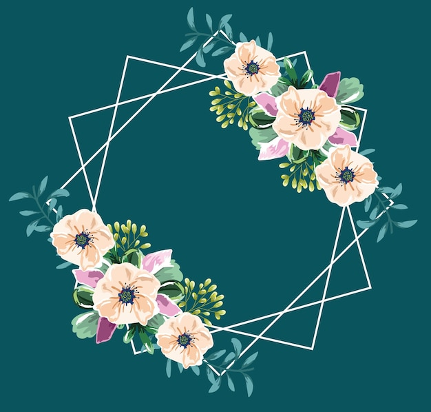 Flowers watercolor frame green background