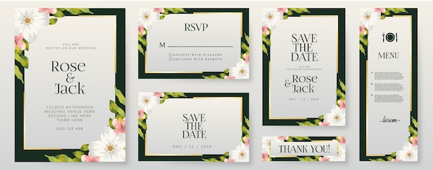 Flowers wedding invitation cards template set