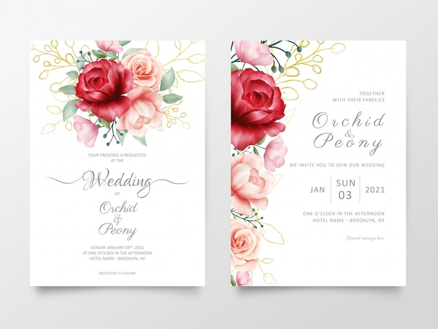 Flowers wedding invitation cards template with marble textures