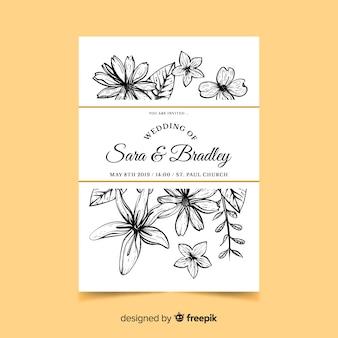 花の結婚式の招待状の手描きスタイル