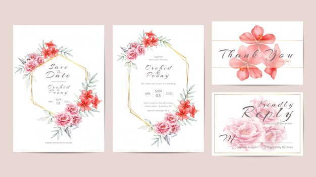 Flowers wedding invitation template set with geometric golden frame