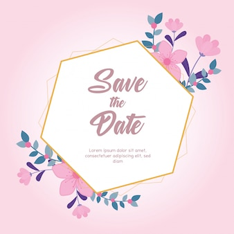 Flowers wedding, save the date, greeting card flourish nature pink background