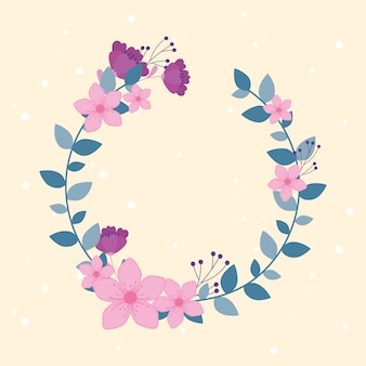 Flowers wedding, wreath flourish leaves foliage ornate decoration
