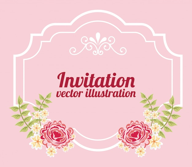 Flowers with frame over pink invitation template