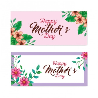 Flowers with leaves cards of happy mothers day vector design