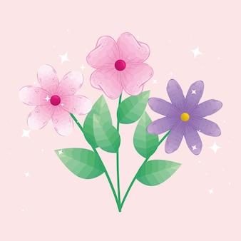 葉のデザイン、自然な花の自然の植物の飾りの庭の装飾、植物学をテーマにした花
