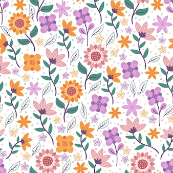 Flowers with leaves floral seamless pattern