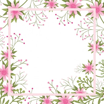 Flowers with leaves with frame isolated icon