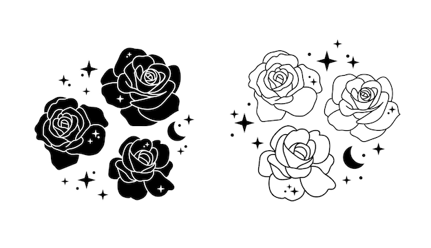 Flowers with moon and stars