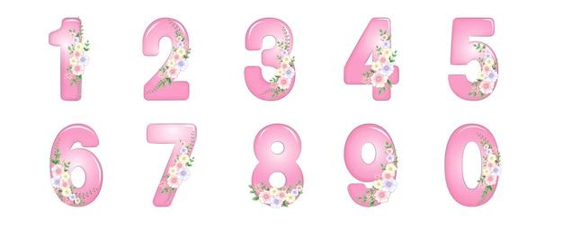 숫자 세트 일러스트와 함께 꽃