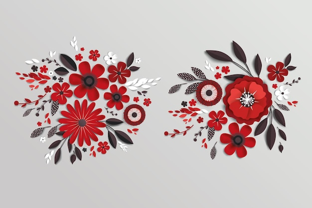 배너 또는 판촉에 현실적인 그림자가있는 꽃