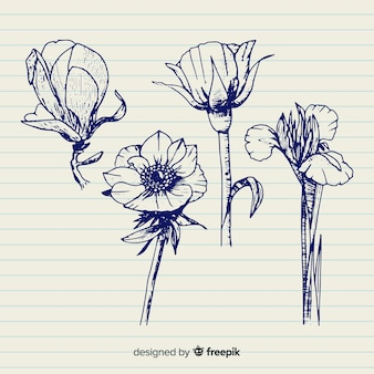 茎を持つ花手描きコレクション
