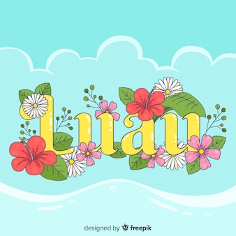 Flowers word luau background