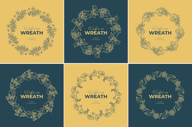 Набор шаблонов логотипов венок из цветов
