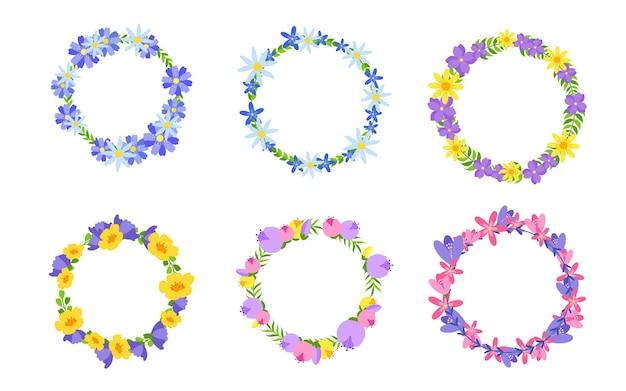 Flowers wreaths icon set. circular floral frame