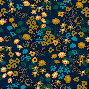 Flowery colorful pattern in small-scale flowers. liberty style floral seamless background