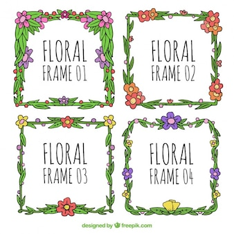 Flowery pack of four hand drawn frames