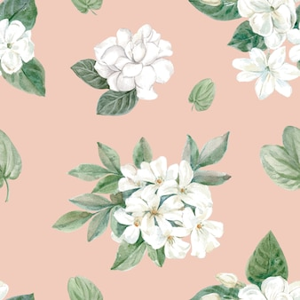 Flowery pattern in watercolor style