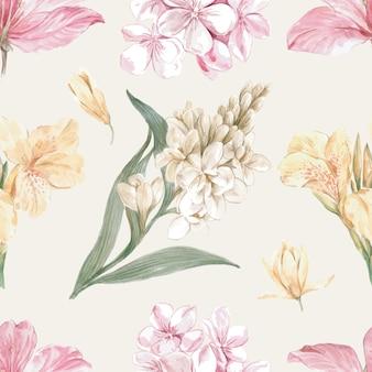 Flowery pattern in watercolor style