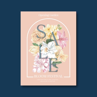 Flowery sale flyer for spring shopping