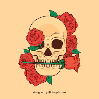 Flowery skull with a rose in the mouth