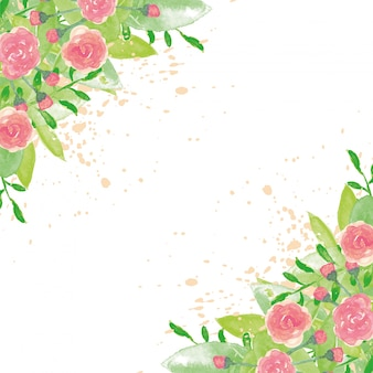 Flowery watercolor background with splashes