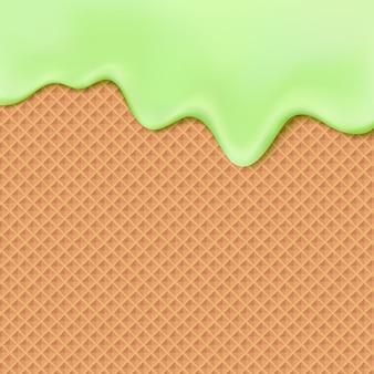 Течет зеленая глазурь на конспекте предпосылки сладкой еды текстуры вафли. растопите мороженое на вафлях бесшовные модели. редактируемый - легкая смена цветов.