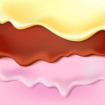 Flowing layered glaze on sweet food background abstractxamelt icing ice cream editable  easy change colors