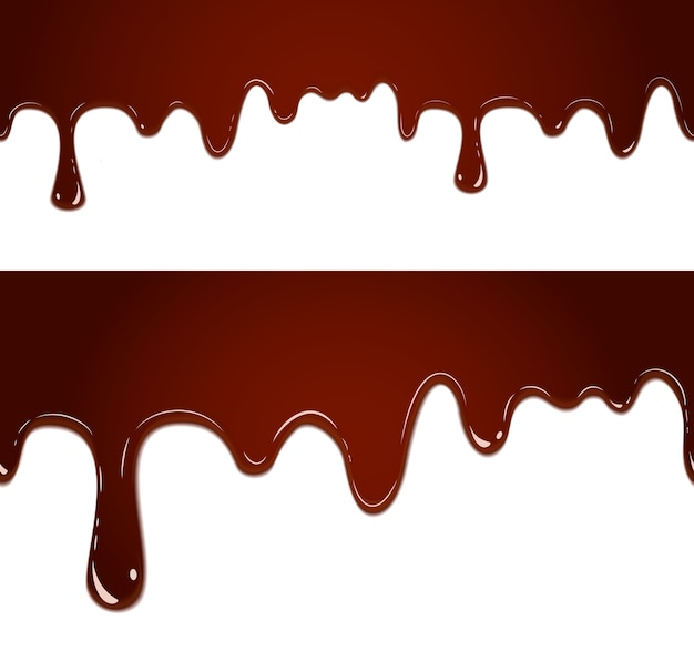Flowing melted chocolate banner set isolated on white