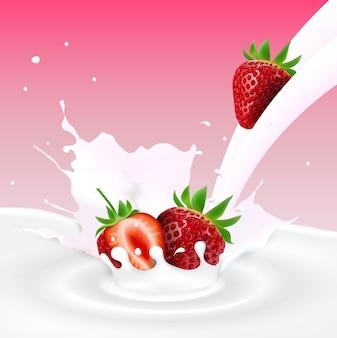 Flowing milk splash with strawberries fruits
