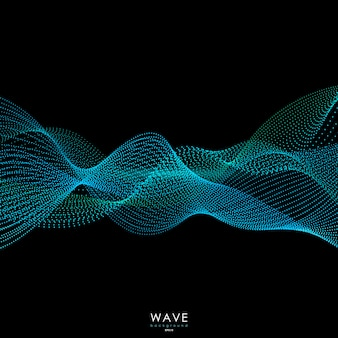 Flowing particle waves background.