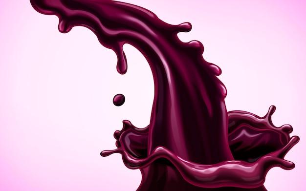 흐르는 보라색 액체, 비트 뿌리 주스 또는 베리 주스