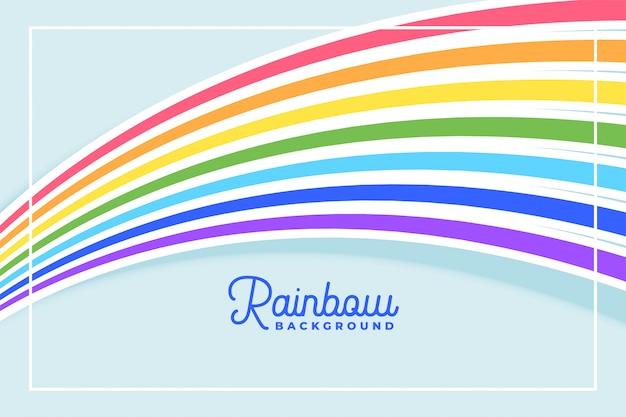 Плавные линии радуги на плоском фоне цветов