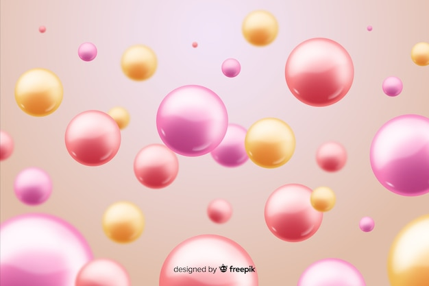 Flowing realistic glossy balls background
