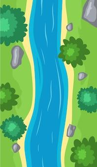 流れる川の上面図、青い水と漫画の曲線の川床、石、木、緑の草のある海岸線。砂浜と小川の流れと夏のシーンのイラスト。ベクトルイラスト。