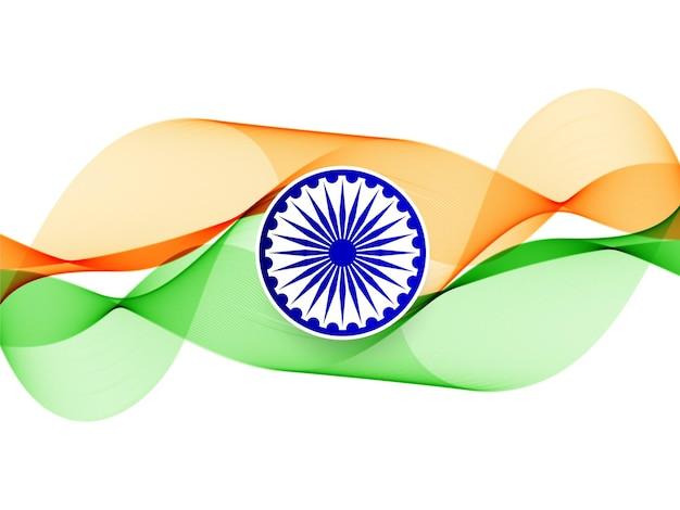 流れる波状のインドの旗のデザイン