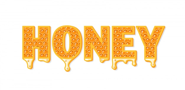 Flows of honey with honeycomb isolated on white background.