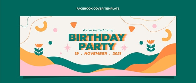 Flt 디자인 최소한의 생일 페이스북 커버