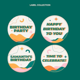 Fltデザインの最小限の誕生日ラベルとバッジ