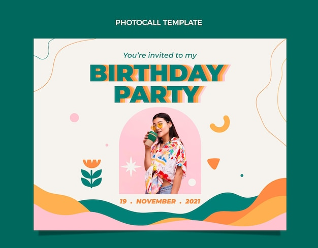 Photocall di compleanno minimo di design flt