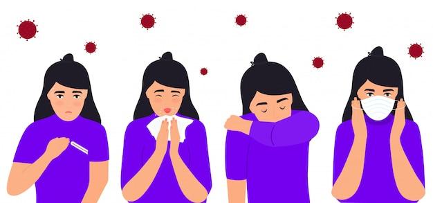 インフルエンザと風邪の症状。コロナウイルス、covid-19。発熱、鼻水、咳、頭痛に苦しむ少女。子供はくしゃみをします。