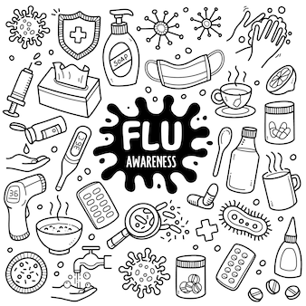 Flu black and white doodle illustration.