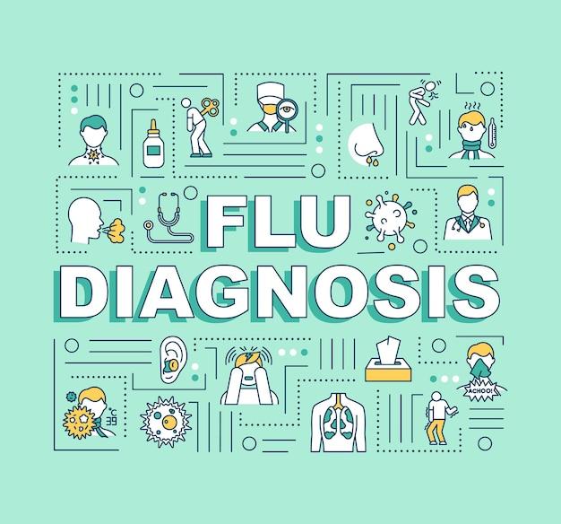 インフルエンザ診断語の概念のバナー。病気の患者の治療。呼吸器疾患。ミントの背景に線形アイコンとインフォグラフィック。孤立したタイポグラフィ。ベクトルアウトラインrgbカラーイラスト