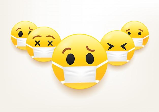 インフルエンザの流行の概念。マスク付き絵文字のグループ
