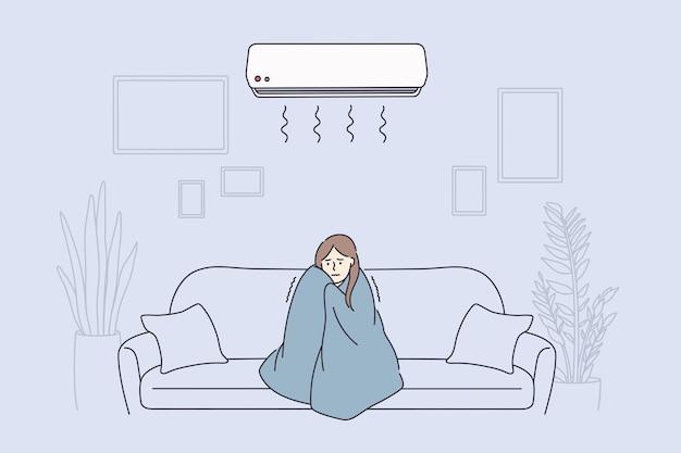 감기 개념을 느끼는 독감 열