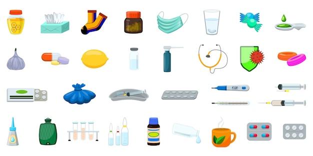 Набор иллюстраций гриппа. мультфильм