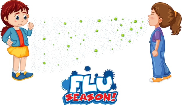 Flu season font in cartoon style with a girl look at her friend sneezing isolated on white background
