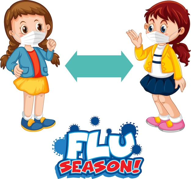 Flu season font in cartoon style with two children keeping social distance isolated on white background