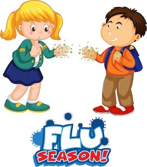 Il carattere della stagione influenzale in stile cartone animato con due bambini non mantiene la distanza sociale isolata su sfondo bianco