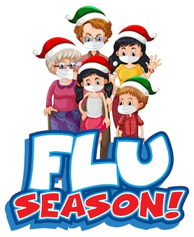 Flu season font design with family wearing medical mask isolated on white
